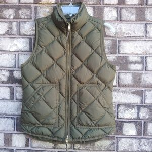 J.Crew army green puffy vest size extra small